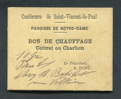 WWI Monnaie De Nécessité Carton Rationnement Bourges (Cher) Bon De Chauffage (charbon) / Sté St Vincent De Paul WW1 - Monétaires / De Nécessité