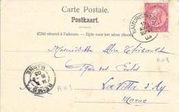 BELGIQUE -  NAMUR  -  CACHET NAMUR STATION - TP 10 ROUGE - 1903 -  ARRIVEE A REIMS (MARNE) CACHET RECETTE R A3 - 1905 Thick Beard