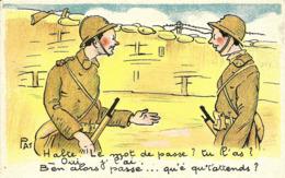 """CPA  , PAT Illustrateur , Humour Militaria Humoristique , """" Halte Le Mot De Passe """" - Humorísticas"""