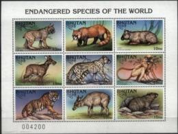 BHUTAN, 1997, FAUNA, ENDANGERED SPECIES OF THE WORLD, YV#1179-87, MNH - Bhutan