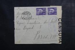 PORTUGAL - Enveloppe Pour La France En 1917 Avec Contrôle Postal, Affranchissement Plaisant - L 44946 - 1910-... République