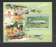 DJIBOUTI  BLOCS SPECIAUX PA N° 184  OBLITERE  COTE  ? €    AVION DC4 - Djibouti (1977-...)