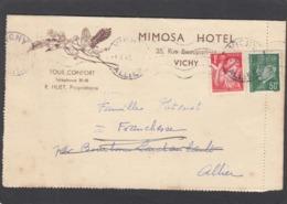LETTRE DU MIMOSA HOTEL A VICHY. - France