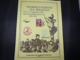 """BELG.2000 2934 Filatelic Invitation Card  : """" Premiére Exposition B.D.Philatélie """" Feuillet Souvenir N°13/60 """" - FDC"""