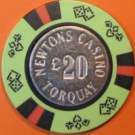 £20 Casino Chip. Newtons, Torquay, UK. Q49. - Casino