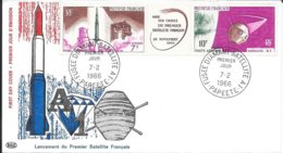 POLYNESIE FRANCAISE -  PAPETTE  -  TIMBRE N° 1464 / 1465 - FUSEE DIAMANT SATELLITE A 1 - 1966 - 1ER JOUR - FDC