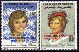 Djibouti P.A. N°172 / 73 X : Naissance Royale Du Prince William La Paire Gomme Blanche, Mate Trace De Charnière Sinon TB - Djibouti (1977-...)
