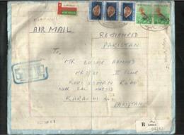 OMAN Registered Slogan Postmark Air Mail Postal Used Cover Barka To Pakistan Cover Size 26 1/2 X 21 Cm Birds Animal - Oman