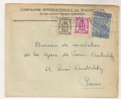 ENVELOPPE / COMPAGNIE INTERNATIONALES DES WAGON LITS LIEGE  A PARIS AUSTERLITZ  B1101 - Covers & Documents