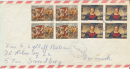 Italy Air Mail Cover Sent To Denmark 27-10-1970 With 2 Block Of 4 - 6. 1946-.. Republic