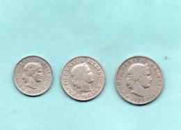 Suisse 3 Pieces ; 5-10 -20 Rappen ; 1883-1908-1957- - Schweiz