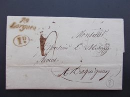 MARQUE POSTALE.VAR.CURSIVE.LORGUES.DRAGUIGNAN.1830.DECIME RURAL.DU THORONET. - Poststempel (Briefe)