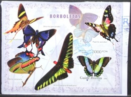 Guine-Bissau - Fine Postally Used Over Fragment Fauna Butterflies S/S - Butterflies