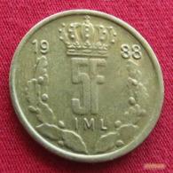 Luxembourg 5 Francs 1988 KM# 60.1  Luxemburgo - Luxemburg
