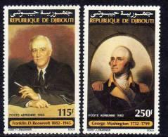 Djibouti P.A. N°176 / 77 XX : Anniversaires De Roosevelt Et Washington La Paire Gomme Blanche, Mate  Sans Charnière TB - Djibouti (1977-...)