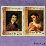 RUSSIA 2007 Mi.1397A-1398C 225th Birth Anniversary Of O. A. Kiprensky. / Set, 2v (MNH **) - Ungebraucht
