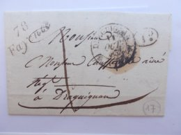 MARQUE POSTALE.VAR.CURSIVE C.FAYENCE.DRAGUIGNAN.1832.DE MONTAUROUX.DECIME RURAL. - Poststempel (Briefe)