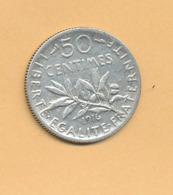 50 C Semeuse 1916 TTB Argent 835/1000 - J. 5 Francs