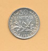 50 C Semeuse 1917 TTB Argent 835/1000 - J. 5 Francs