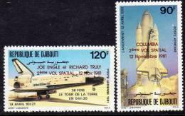 Djibouti P.A. N°157 / 58  X : Conquète De L'Espace  La Paire Surchargée Gomme Blanche, Mate  Trace De Charnière Sinon TB - Djibouti (1977-...)