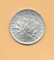 50 C Semeuse 1918 SUP Argent 835/1000 - J. 5 Francs