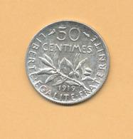 50 C Semeuse 1919 SUP Argent 835/1000 - J. 5 Francs