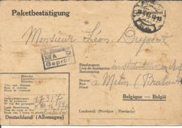 Kriegsgefangenenpost Prisonnier Guerre 1942 Stalag XII A Limburg  + Censure, Colis Croix-Rouge Vers MELIN JODOIGNE - Cartas