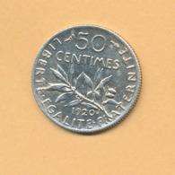 50 C Semeuse 1920 SUP Argent 835/1000 - J. 5 Francs