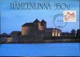 48419 Finland, Maximum 1985 Hameenlinna The Castle,  Burg,  Chateau, Architecture, - Maximum Cards & Covers