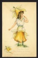 Pretty Girl Yellow Daffodil Flower 1917 - M. Dulk Signed - BIRTHDAY - Fantasia