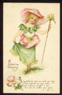 Pretty Girl Pink Wild Rose Flower - Poem 1917 - M. Dulk A/s - VALENTINE - Fantasia