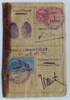 Carte D'identité 9 Avril 1940 Commissariat De Police De Chantilly Pincon Suzanne Réfugiée à Gouillet ? Guerre 39-45 WW2 - 1939-45