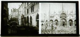 Plaque De Verre - 2 Vues - Italie - Venise -  Cathédrale - Pigeons - Gondole - Pont - Animée - Glass Slides