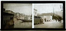 Plaque De Verre - 2 Vues - Italie - Venise -  Gondole - Autobus - Animée - Glass Slides