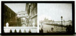 Plaque De Verre - 2 Vues - Italie - Venise - Pont - Cathédrale - Animée - Glass Slides