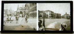 Plaque De Verre - 2 Vues - Italie - Venise - Cathédrale - Pigeons - Animée - Glass Slides