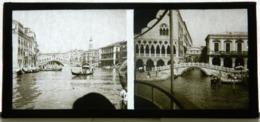 Plaque De Verre - 2 Vues - Italie - Venise - Gondoles - Pont - Animée - Glass Slides