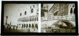 Plaque De Verre - 2 Vues - Italie - Venise - Pont - Animée - Glasdias