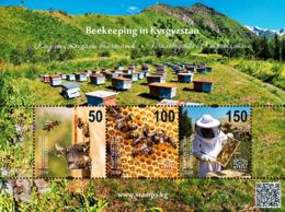 Kyrgyzstan 2019 MS MNH Beekeeping In Kyrgyzstan Bee Bees Abeilles Abeille - Honeybees