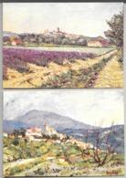 Lot De 3 Cartes Dessins De René BRES : Les Oliviers - Lavande à Valréeas - Vinsobres Et Le Mont Ventoux - Illustrateurs & Photographes