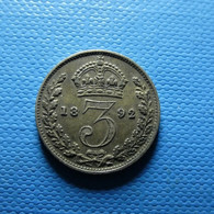 Great Britain 3 Pence 1892 Silver - F. 3 Pence