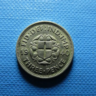 Great Britain 3 Pence 1940 Silver - F. 3 Pence