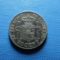 Spain 50 Centimos 1880 *80 Silver - Primeras Acuñaciones