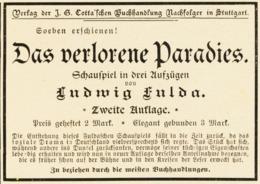 Original-Werbung/ Anzeige 1898 - LUDWIG FULDA : DAS VERLORENE PARADIES / COTTA - STUTTGART - Ca. 90 X 65 Mm - Pubblicitari