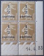 DF40266/726 - 1933 - TYPE SEMEUSE - BLOC N°279A TIMBRES NEUFS** CdF Daté - 1930-1939