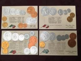 LOT DE 4 CARTES POSTALES MONNAIES.   /79/ - Monedas (representaciones)
