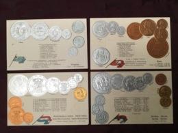 LOT DE 4 CARTES POSTALES MONNAIES.   /80/ - Monedas (representaciones)