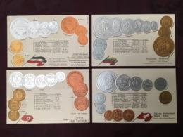 LOT DE 4 CARTES POSTALES MONNAIES.   /83/ - Monedas (representaciones)
