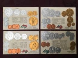 LOT DE 4 CARTES POSTALES MONNAIES.   /86 - Monedas (representaciones)