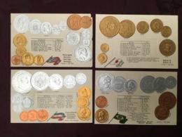 LOT DE 4 CARTES POSTALES MONNAIES.   /88/ - Monedas (representaciones)